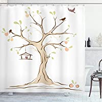 Ambesonne Tree of Life Shower Curtain, Mature Apple Tree with Fying Birds and The Nest Fruit Family Nature Food Image, Cloth Fabric Bathroom Decor Set with Hooks