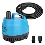 KEDSUM 440GPH Submersible Pump (1650L/H,21W), Ultra Quiet Water Pump with 6.9ft High Lift, Fountain Pump with 5.9ft Power Cord, 3 Nozzles for Fish Tank, Pond, Aquarium, Statuary, Hydroponics
