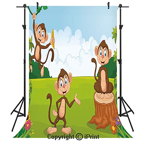 (Nursery Photography Backdrops,Three Monkeys Playing in a Tropical Forest Banana Africa Safari Nature Decorative,Birthday Party Seamless Photo Studio Booth Background Banner 6x9ft,Pale Blue Brown)