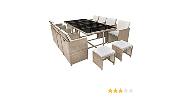 vidaXL Conjunto de Muebles de Exterior 13 Piezas Comedor de Jardín Sillas y Mesa de Porche Patio Poli Ratán Sintético Beige Estilo de Mimbre: Amazon.es: Hogar