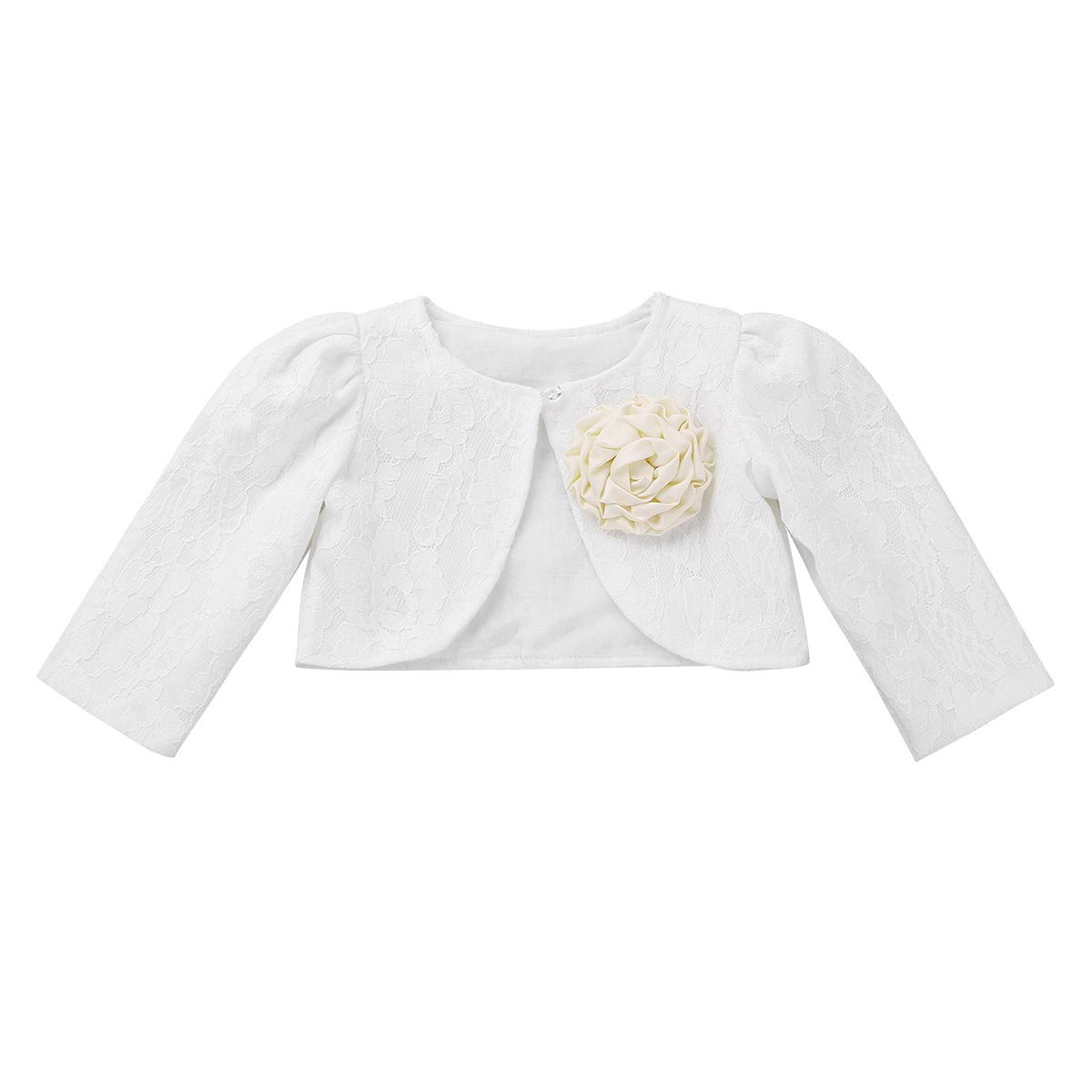 iiniim Boléro à Manches Longues Bébé Enfant Fille Boléro de Mariage Baptême Cardigan Veste de Cérémonie Princesse Blousons Col V avec Broche Fleur Manteau 0-24 Mois