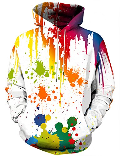 Yasswete Unisex 3D Digital Colorful Graphic Pullover Hoodies XXL