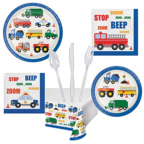 - Traffic Jam Cars Trucks Birthday Party Pack for Boys Set Serves 16 – Luncheon & Dessert Paper Plates, Napkins, Table Cover, Cutlery – Disposable Party Supplies for Food and Cake