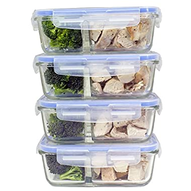 [Premium 4 Pack] 2 Compartment Glass Meal Prep Containers 8-Piece Set with Snap Locking Lid, BPA-Free, Airtight, Leakproof, Microwave, Oven, Freezer, Dishwasher Safe (3.5 Cup, 28 Oz, Rectangle)