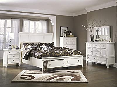 Printice Contemporary White Color Bedroom Set: King Sleigh Bed, Dresser, Mirror, 2 Nightstands, Chest