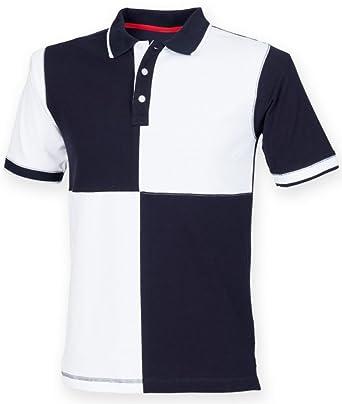8d21feca695 Front Row Men's Short Sleeve Quartered House Polo Shirt Navy/White ...