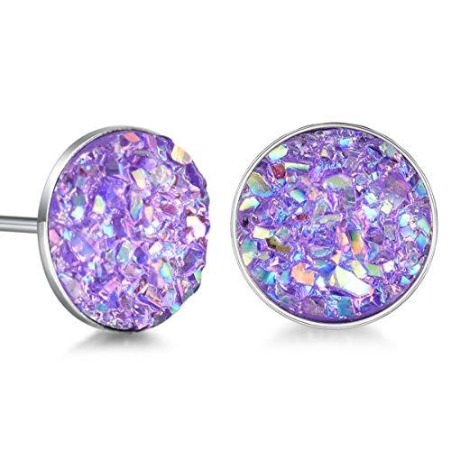 Sterling Silver Druzy Stud Earrings Hypoallergenic Round Studs for Women Men 8mm -Black, Blue, White, Purple