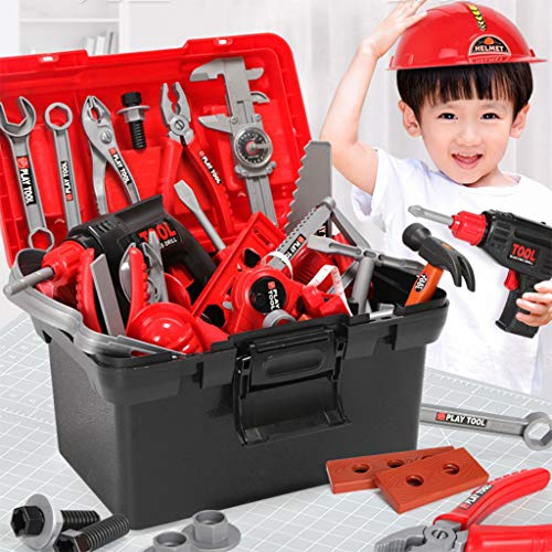 Construction Toolbox Pretend Toys, Kids Tools Supplies Pretend Play Toy Sets with Electric Drill for Toddler (54PCS, Red) from Auvem