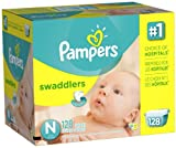 Baby : Pampers Swaddlers Diapers, Size N, Giant Pack, 128 Count (Packaging May Vary)