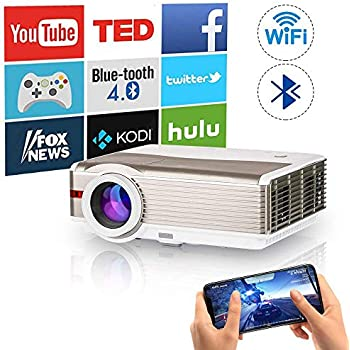 WiFi Bluetooth HDMI Projector 5000Lumens Wireless LED LCD Home Multimedia Video Proyector Support Full HD 1080P 720p Wuxga Built-in Speaker Compatible ...