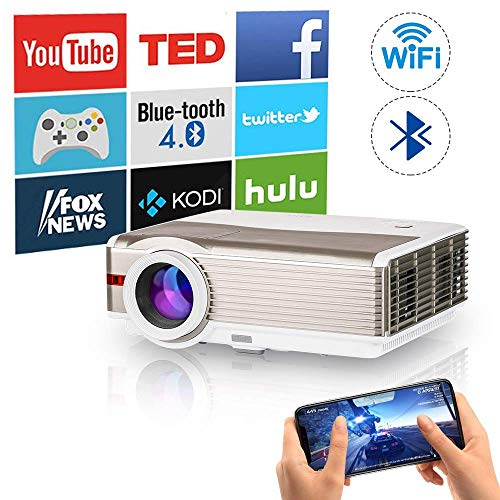 WIKISH Smart Wifi Bluetooth Projector 5000 Lumen,Airplay Projector 200 Inch Display with HDMI USB AV for Indoor Outdoor…