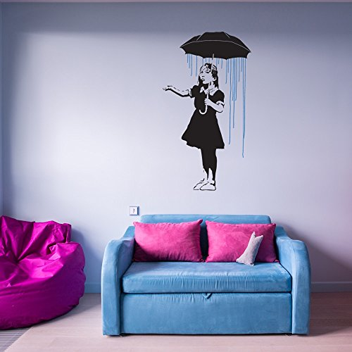 Umbrella Girl Banksy Wall Decal by Style & Apply - Wall Sticker, Vinyl Wall Art, Wall Applique, Home Decor Mural - BD1029 - 39in x 70in