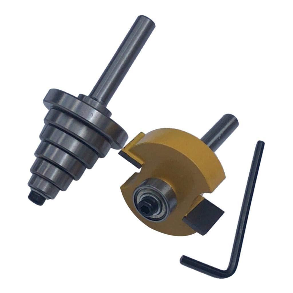 Brocas de Ebanister/ía Juego de Rabbet Router Bit Fresa para Ranurar de Carpinter/ía con 6 Rodamientos