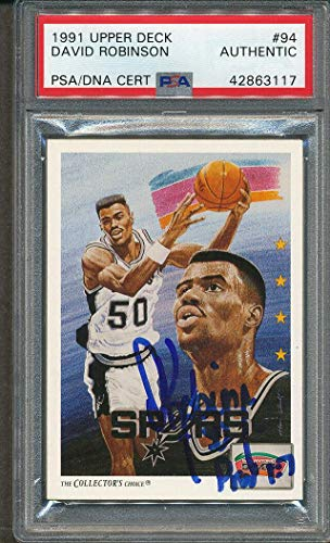 1991/92 Upper Deck #94 David Robinson Certified Authentic Signed *3117 - PSA/DNA Certified - Basketball Slabbed Autographed Cards ()
