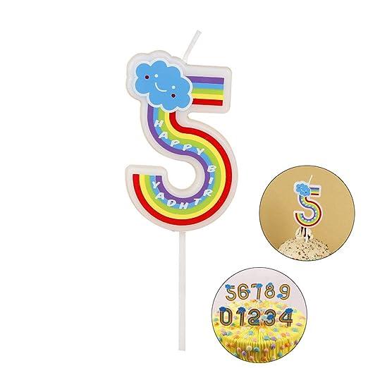 Vela de cumpleaños número 5 para niños y niñas con números ...