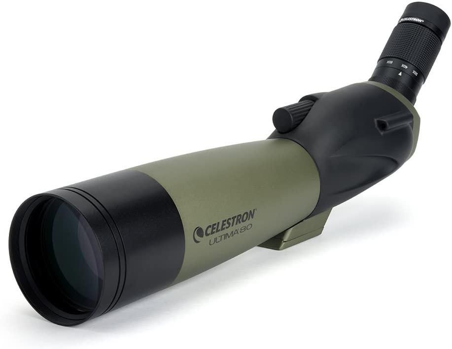 Celestron Ultima 80 Angled Spotting Scope 20 to 60x80mm Zoom Eyepiece Multi-Coated Optics for Bird Watching, Wildlife, Scenery and Hunting Waterproof and Fogproof Includes Soft Carrying Case