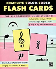 Includes all notes, symbols, and terms needed for the first two years of study on any musical instrument. Cards are color-coded by category and are numbered on the back.