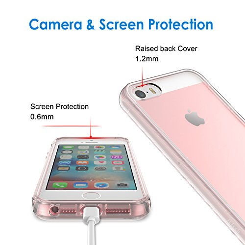 JETech Case for iPhone SE 2016 (Not for 2020), iPhone 5s and iPhone 5, Shockproof Bumper Cover, Anti-Scratch Clear Back…