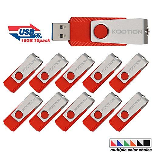 Vista Usb Stick - KOOTION 10PCS 16GB USB3.0 Flash Drive USB Drive Memory Stick Thumb Drive Pen Drive, Red