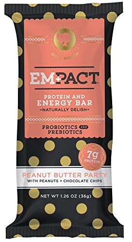 Amazon Energy Diet (Empact Bars (Probiotic + Prebiotic) - Peanut Butter Party - 10 Pack - Amazons #1 Ranked All Natural, NON-GMO, Gluten Free Protein and Energy Bar for Women)
