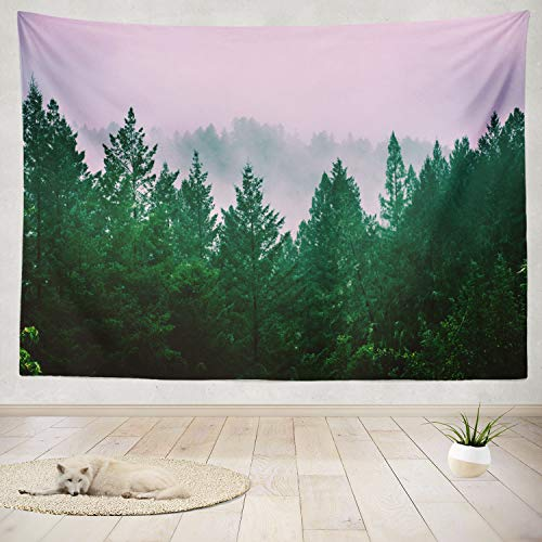 ONELZ Decor Collection, Woods California USA June 2018 Trees Fog Adventure America Ancient Bedroom Living Room Dorm Wall Hanging Tapestry 60