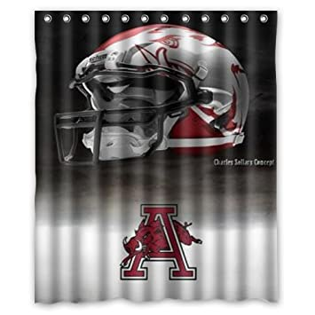 RAROFU Arkansas Razorbacks Team Logo Custom Shower Curtain 60 X 72