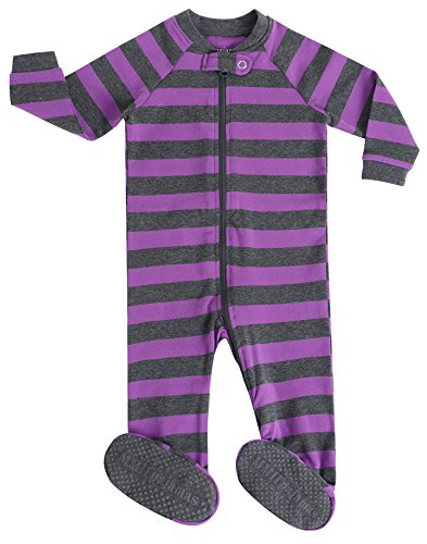 MMII pajamas Little Footed Pajamas for Girls Sleeper Striped 100% Cotton Blanket Purple Size 3T