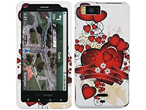 Red Hearts with Ribbon Crystal 2D Hard Case Cover for Motorola Droid X X2 eXtreme MB810 MB870