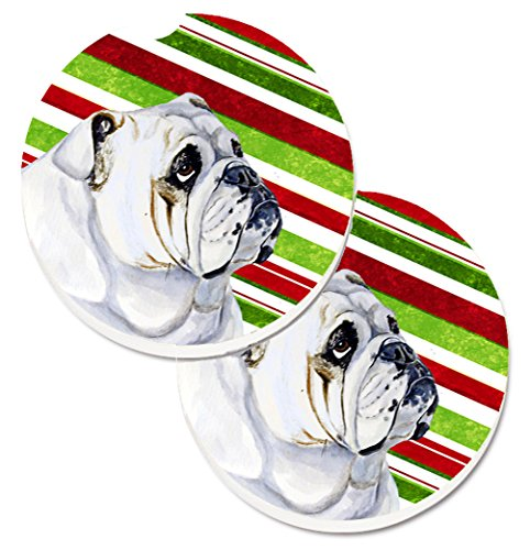 Caroline's Treasures Bulldog English Candy Cane Holiday Christmas Set of 2 Cup Holder Car Coasters LH9229CARC, 2.56, Multicolor