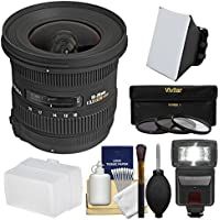 Sigma 10-20mm f/3.5 EX DC HSM Zoom Lens with Flash + Soft Box + Bounce Diffuser + 3 Filters Kit for Nikon DSLR Cameras