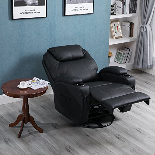 iner Chair, Heated and 360 Degree Swivel Recliner Leather Sofa Chair with 8 Vibration Motors, Black (Full Leather Chair)