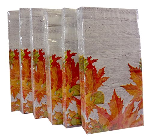 Bulk Buy: Thanksgiving Autumn Leaves Paper Guest Towels / Dinner Napkins. Pack of (6). (Napkins Autumn)