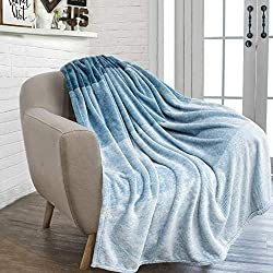 PAVILIA Flannel Fleece Light Sea Blue Throw Blanket | Soft Cozy Warm Plush Microfiber Lightweight | Gradient Ombre Decorative Luxury Velvet Throw| for Sofa Couch Bed |50 x 60 Inches| All Season Use