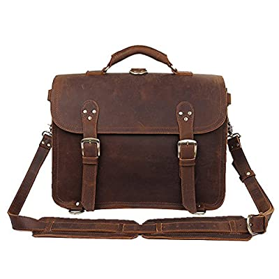 6806df8aeef9 Genda 2Archer Men s Crazy Horse Leather Briefcase Laptop Shoulder Satchel  Bag 16inch best