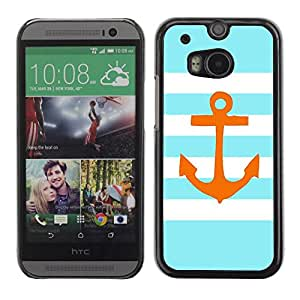 LASTONE PHONE CASE / Slim Protector Hard Shell Cover Case for HTC One M8 / Stripes Lines Golden Anchor Brown