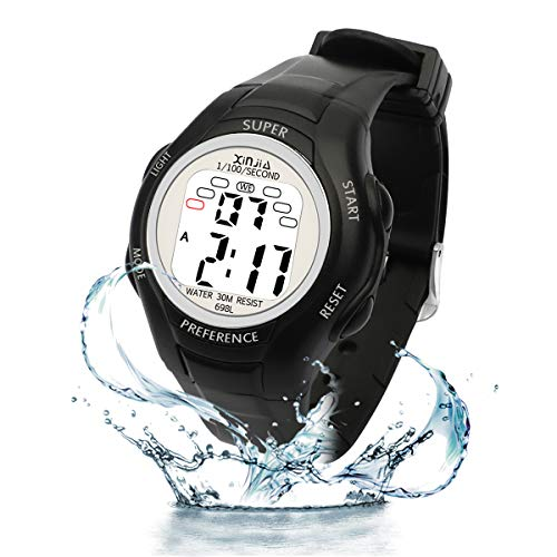 Digital Watches for Kids, 7 Colors LED Light Boys Girls Watch Waterproof Sports Watches Digital Watch with Alarm/Stopwatch, Date & Week and Calendar for Outdoor Sports Watches (All Black)