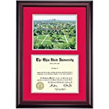 Ohio State Buckeyes Diploma Frame Scarlet Gray Matting Photograph