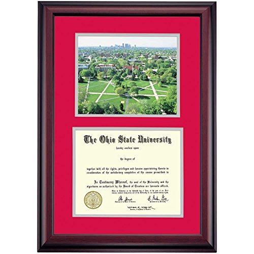 (Campus Linens Ohio State Buckeyes Diploma Frame Scarlet Gray Matting Photograph )
