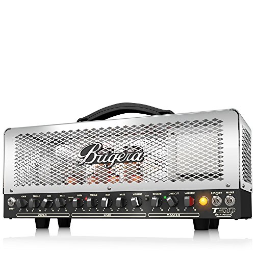 Hughes Guitar Amplifier - BUGERA T50-INFINIUM 50-Watt Cage-Style 2-Channel Amplifier Head with Infinium Tube Life Multiplier Silver Multicolored (T50INFINIUM)