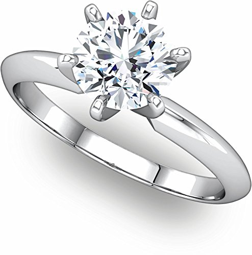 (Exquisite! Women's 14k White-gold 2 ct Round Brilliant Moissanite Solitaire Engagement Ring - 8.0mm Size 7.5)