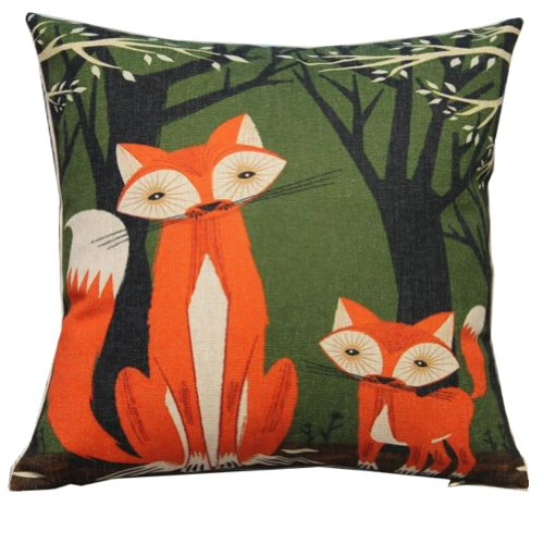 Lovely Animal Fox Throw Pillow Case Decor Cushion Covers Square 18*18 Inch Beige Cotton Blend Linen (Big Dressers For Sale)