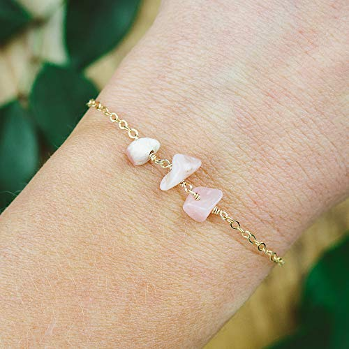 Pink Peruvian opal beaded chain crystal bracelet in 14k gold fill - 6