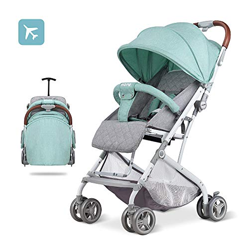 2019 Baby Stroller,Lightweight Compact Travel Stroller – One Hand Fold,Umbrella Stroller,Linen Fabric,Full Recline Up 170° – Baby Can Sit Or Lie Down, Pull Handle, Can Take It On The Airplane (Mint)