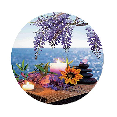 iPrint Polyester Round Tablecloth,Spa Decor,Massage Stones with Daisy and Wisteria with the Seabed Foliage Meditation,Dining Room Kitchen Picnic Table Cloth Cover,for Outdoor Indoor by iPrint