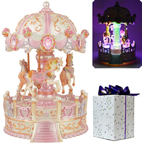 ACCOCO Large Carousel Music Box Luxury Color Change LED Light Luminous Rotating 3-Horse Moving Up and Down Music Box,Two Melody Carrying You from Castle in The Sky and Swan Lake (Pink) ()