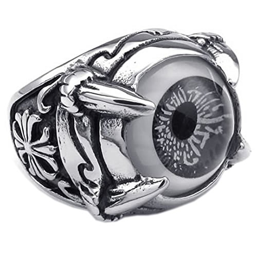 KONOV Stainless Steel Gothic Dragon Claw Evil Eye Biker Men's Ring - Size 7