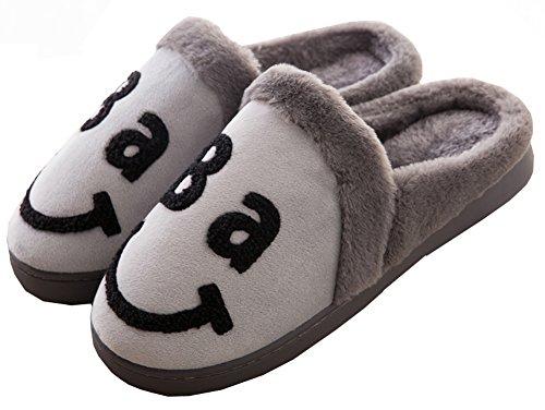 Cystyle Neue Herbst Winter Vater Mutter und Kinder Baby Familie Matching Wärme Weiche Leicht Plüsch Pantoffeln Slipper Dad/Grau