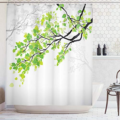 Ambesonne Nature Decor Shower Curtain by, Twiggy Spring Tree Branch with Refreshing Leaves Summer Peace Woods Graphic, Fabric Bathroom Decor Set with Hooks, 70 Inches, Green Grey (Shower Curtain Branch Fabric)