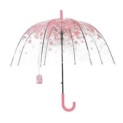 Paraguas Transparente, BeuatyPO Paraguas romántico Rosa Cereza con Mango Cómodo, Clear Bubble Windproof,