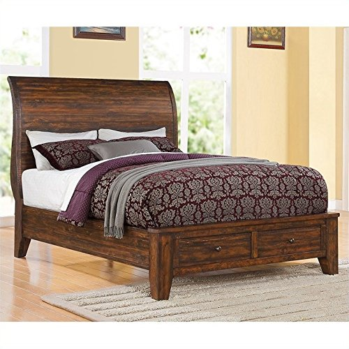 Modus Furniture 9Cr1d5 Cally Solid Wood Storage Bed  Queen  Antique Mocha